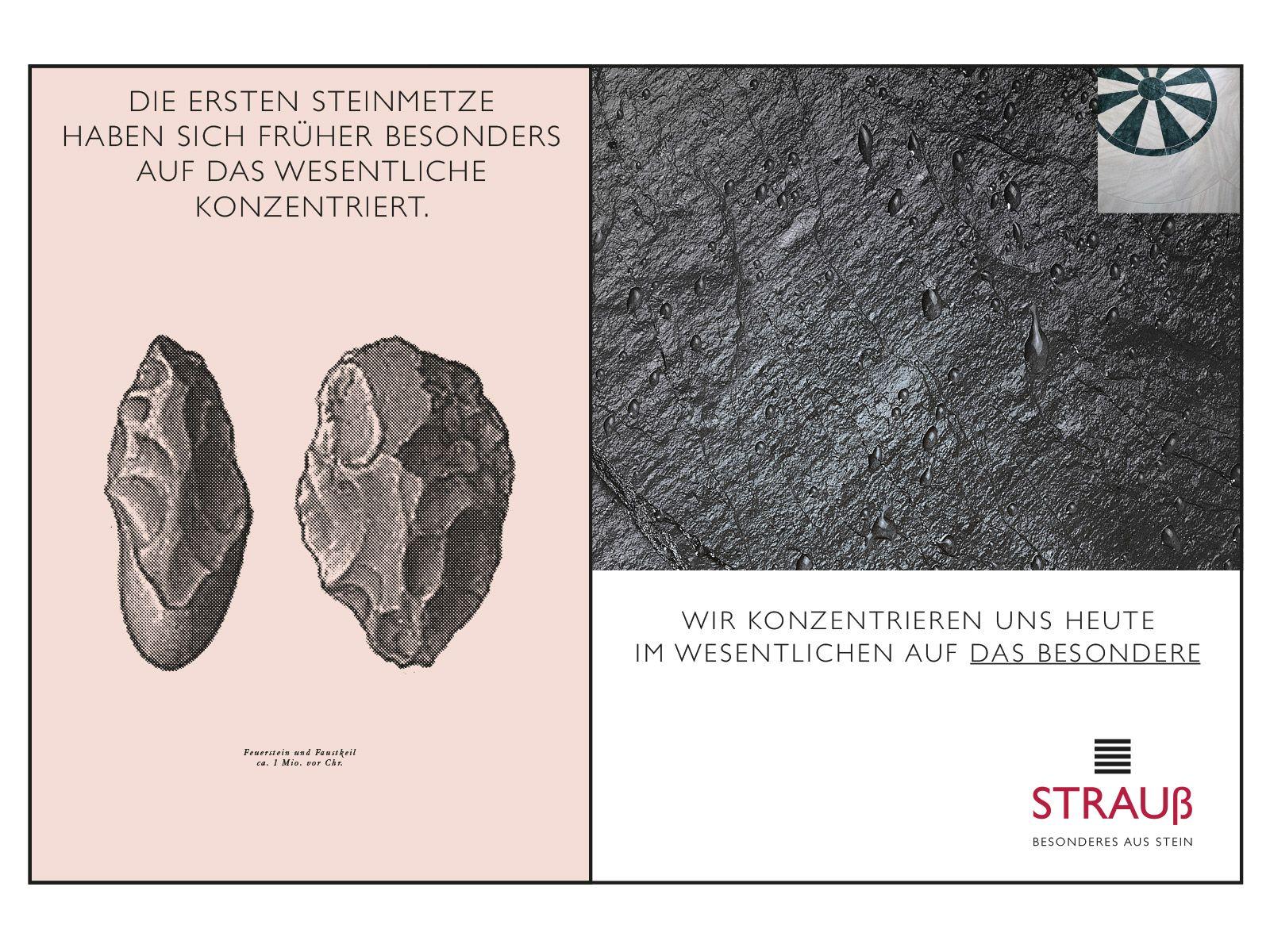 Kampagnenmotive für Strauss Natursteine